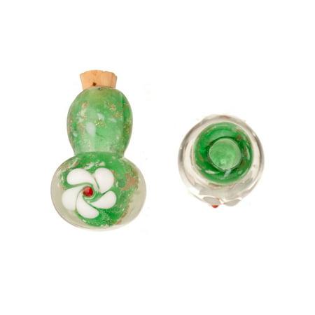 Calabash Shape Green perfume Bottle Lampworked Glass Pendant Bottles Necklaces Pendant