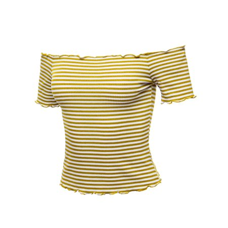 Wear Ribbed (FashionOutfit Women's Casual Stripes Lettuce Hem Ribbed Off-Shoulder Crop)