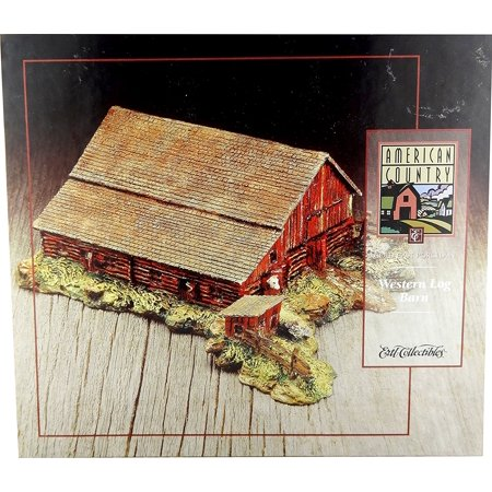 Ertl Collectibles Western Log Barn Cold Cast Porcelain Figurine, Manufactured Ertl Collectibles in 1996 By American - Painted Cold Cast Porcelain