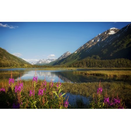 Canvas Print Water Lake Alaska Reflections Mountains Snow Stretched Canvas 10 x (Reflection Lake Alaska)