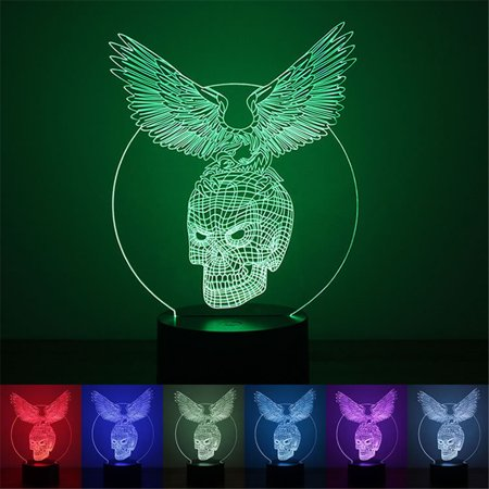 Eagle Skull 3D LED Night Light Lamps 3D Optical Illusion 7 Colors For