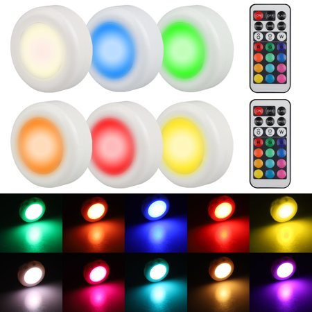 Tsv Wireless Led Puck Light 6 Pack With Remote Control Under Cabinet Lighting Closet Battery Ed Lights Counter