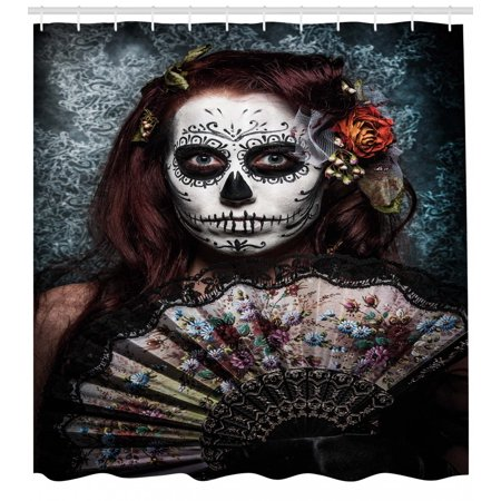 Day Of The Dead Shower Curtain Make Up Artist Girl With Skull Scary Mask