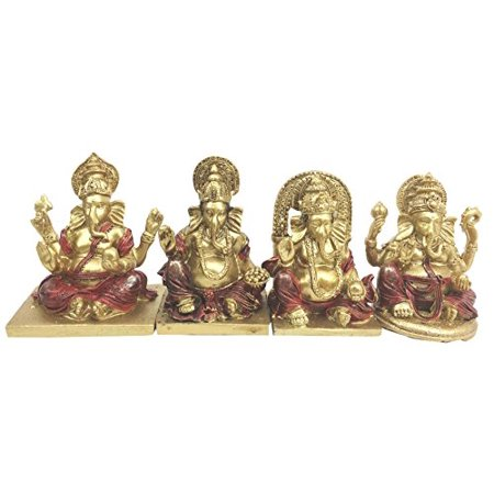 Hindu Supreme Elephant God Lord Ganesh Ganesha Miniature Figurines Set Altar