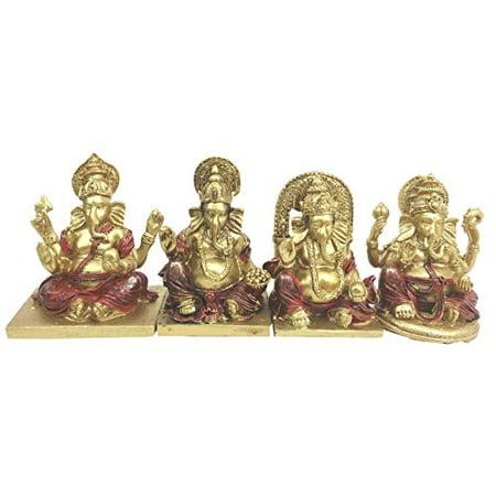 Hindu Elephant (Hindu Supreme Elephant God Lord Ganesh Ganesha Miniature Figurines Set Altar Collectible )