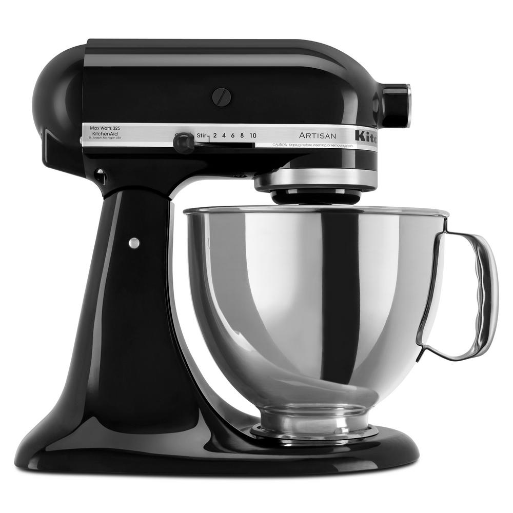 KitchenAid KSM150PSOB Artisan Series 5 Quart Stand Mixer with Pouring Shield, Onyx Black (New Open Box)