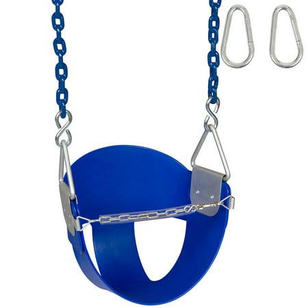 Swing Set Stuff Inc. Highback Half Bucket with 5.5 Ft. Coated Chains (Blue)