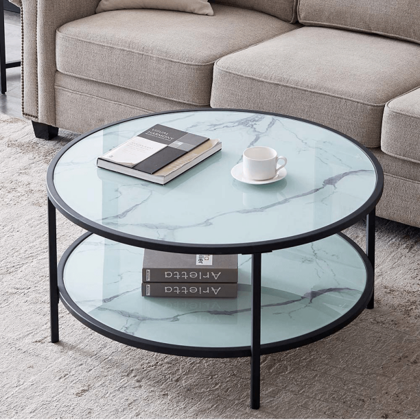 35in Modern Round Tempered Glass Accent, Small Round Metal And Glass Coffee Table