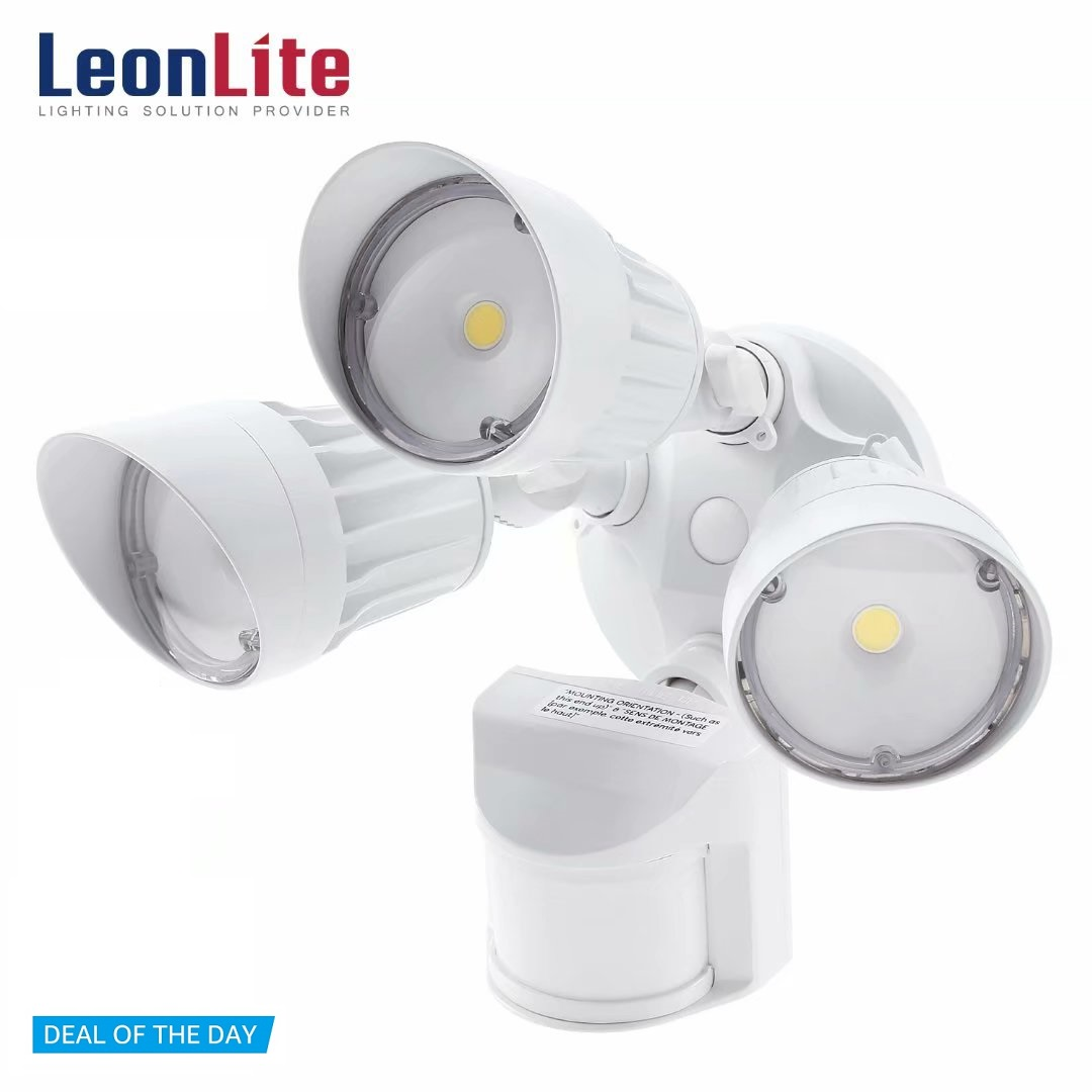 LEONLITE 30W 3-Head LED Security Lights with Motion, Outdoor Security Lights, LED Flood Light with Photo Sensor, 3000K Warm White, White