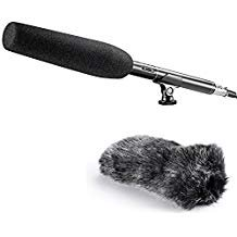 Dj Professional Uni Directional Microphone (Neewer 14inches Uni Directional Shotgun Mono PRO Condenser Microphone with Furry Windscreen Muff for Canon Nik )