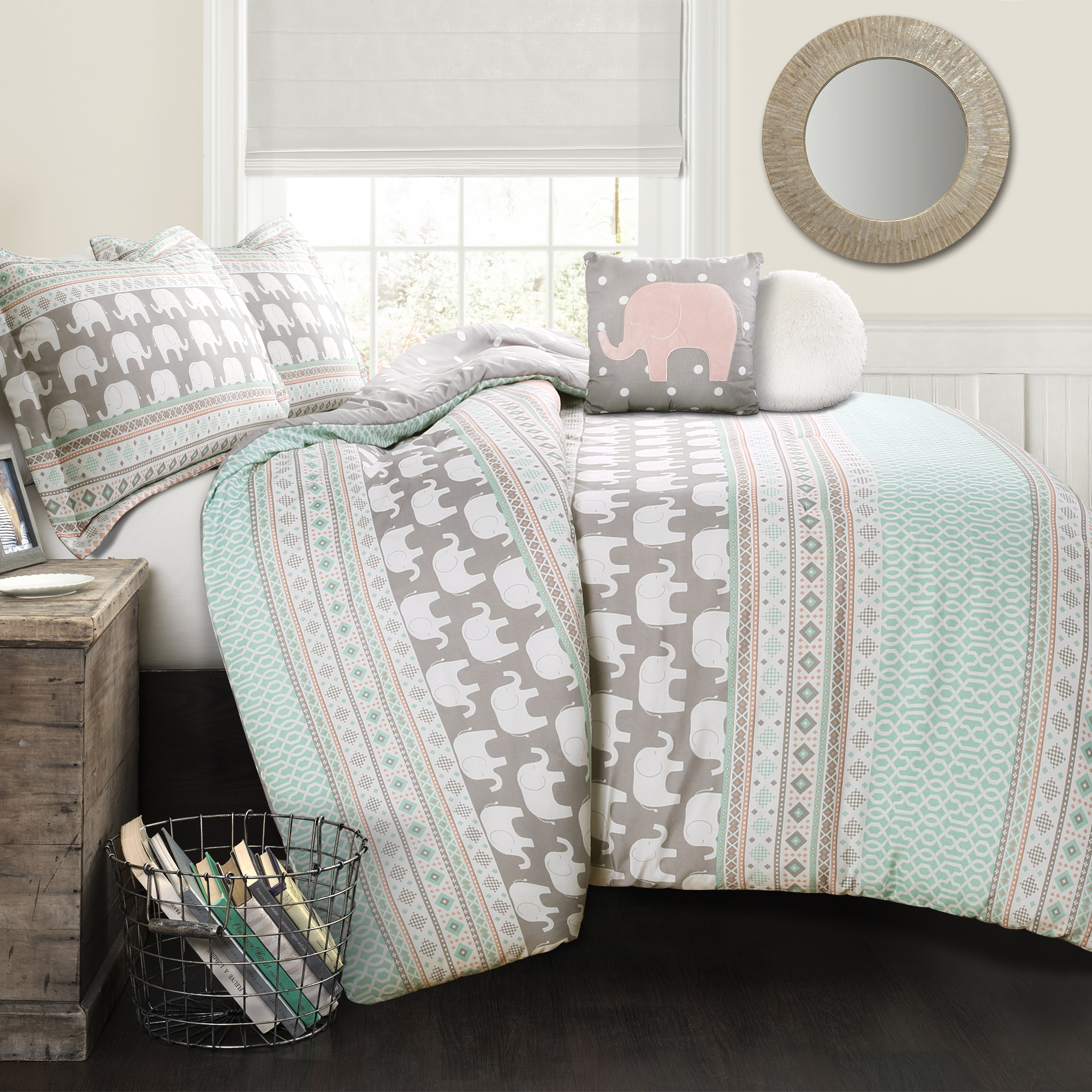 Elephant Stripe Comforter Turquoise/Pink 4Pc Set Twin