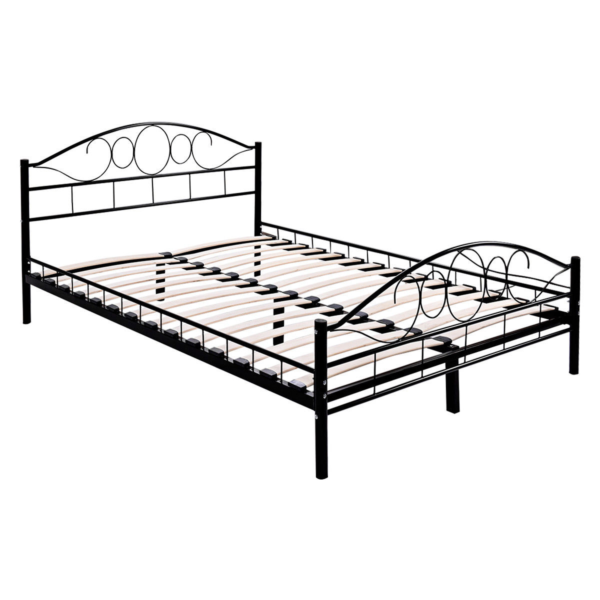 Queen Size Wood Slats Steel Bed Frame Platform Headboard