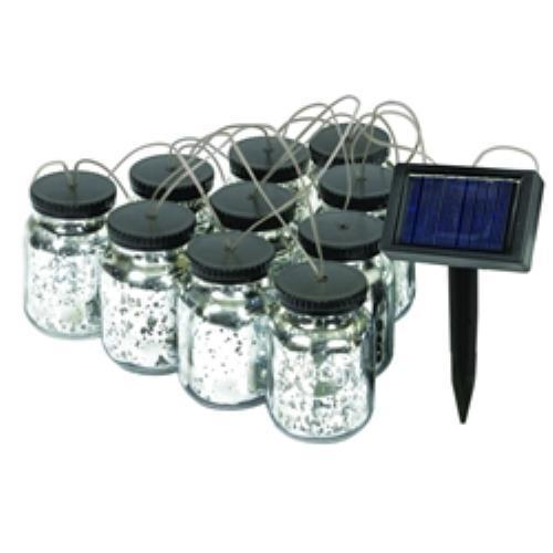 Malibu Black Solar Mason Jar String Lights