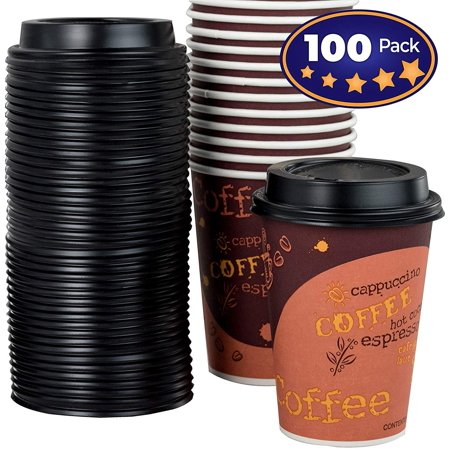 12 Oz Waxed Cold Cup - Restaurant Grade 12 Oz Paper Coffee Cups With Recyclable Dome Lids. 100 Pack By Avant Grub. Durable, BPA Free Disposable Designer Cups For Hot Drinks At Kiosks, Shops, Cafes, and Concession Stands