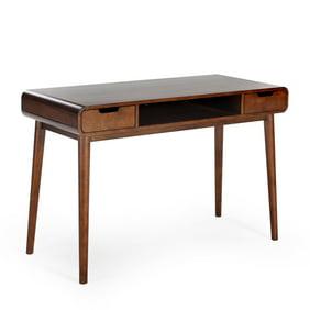 Walker Edison Mid-Century Modern Wood Computer Desk with Drawer - White /  Acorn