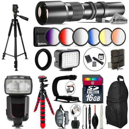500mm Telephoto Lens for Nikon D3100 D3200 + Pro Flash + LED Light -16GB (Best Nikon Lens For Low Light Sports Photography)