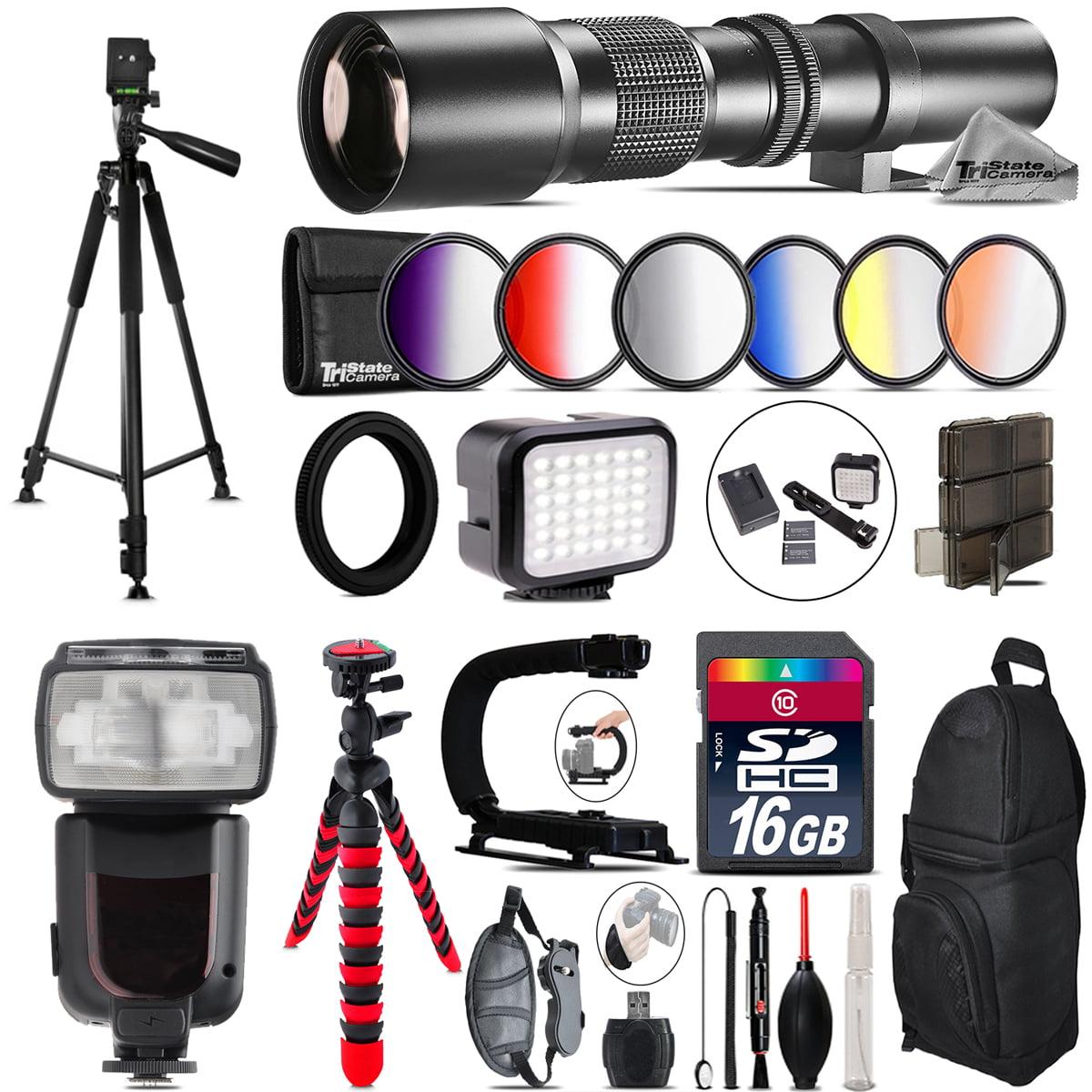 500mm Telephoto Lens for Nikon D3100 D3200 + Pro Flash + LED Light -16GB Bundle
