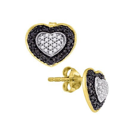 10kt Yellow Gold Womens Round Black Color Enhanced Diamond Heart Stud Earrings 1/2 Cttw - image 1 of 1