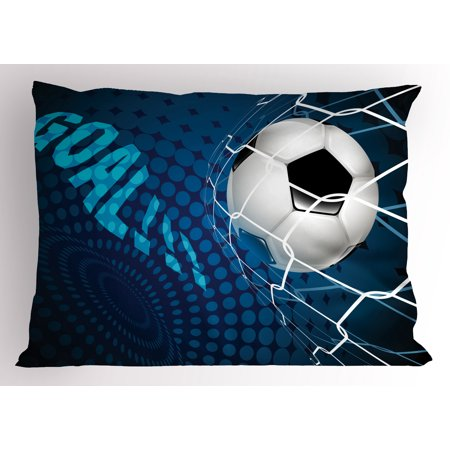 Sam Football - Soccer Pillow Sham Goal Football Flying into Net Abstract Dots Pattern Background European Sport, Decorative Standard Queen Size Printed Pillowcase, 30 X 20 Inches, Blue Black White, by Ambesonne