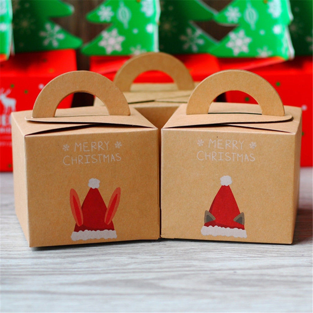 Moderna Christmas Cat Rabbit Ear Hat Kraft Paper Candy Box Gift Xmas Apple Container