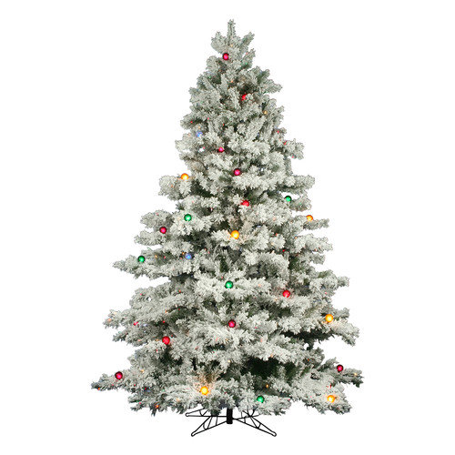 Vickerman Flocked Alaskan 7.5' White Artificial Christmas Tree with 800 Multicolored Lights with Stand