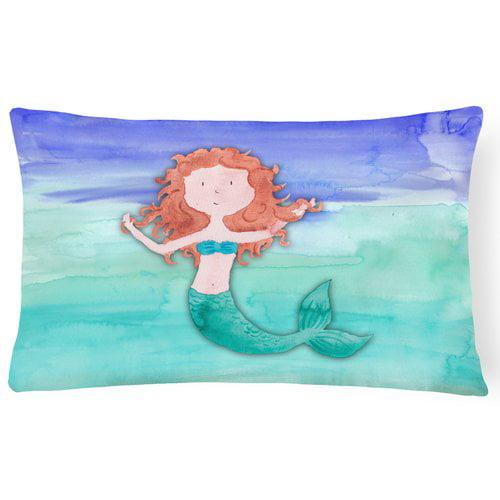 Zoomie Kids Twila Ginger Mermaid Watercolor Lumbar Pillow