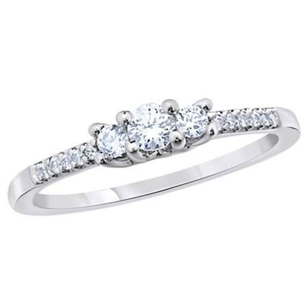 Round Cut White Natural Diamond Three Stone Promise Ring in 10k White Gold (0.33 Cttw)