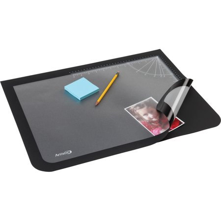 "17"" x 22"" Logo Pad™ Lift-top Desktop Organizer Desk Mat, Black/Clear"