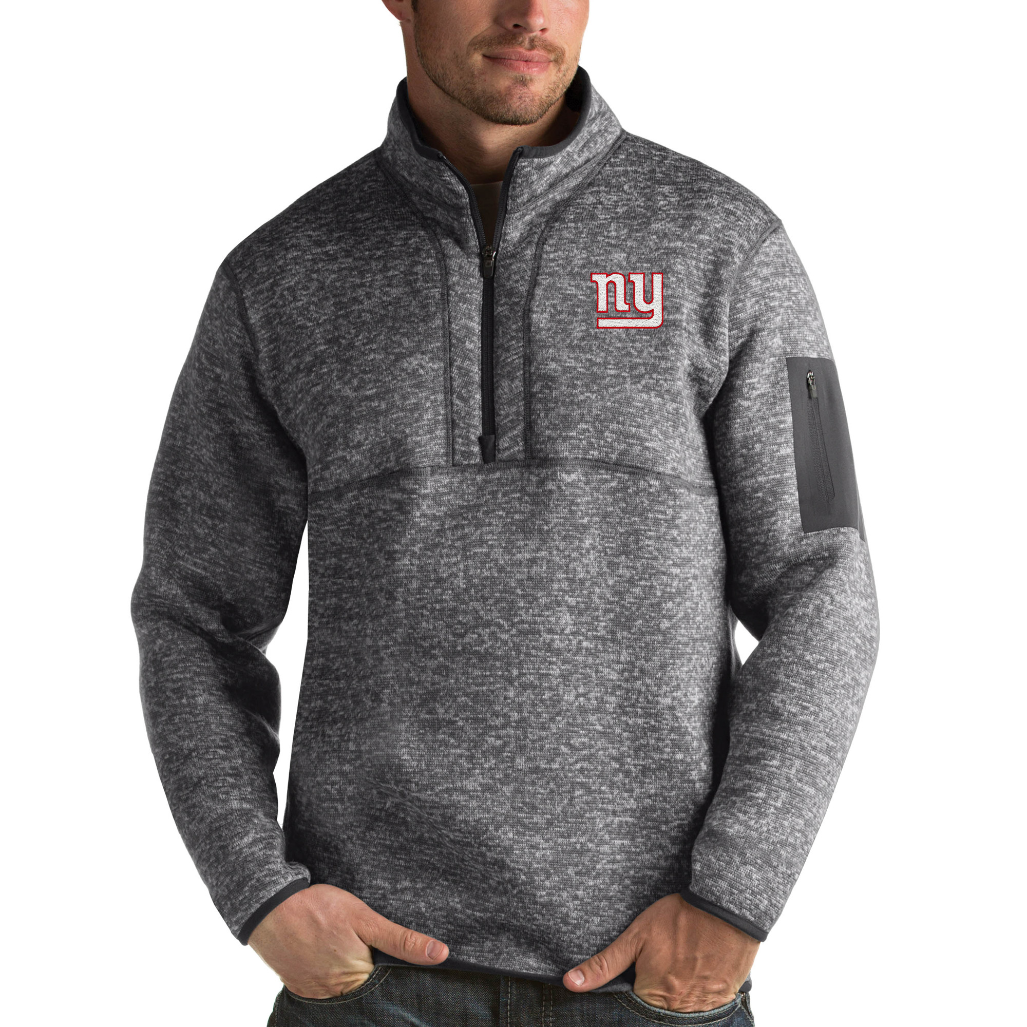 New York Giants Antigua Fortune Quarter-Zip Pullover Jacket - Charcoal - S