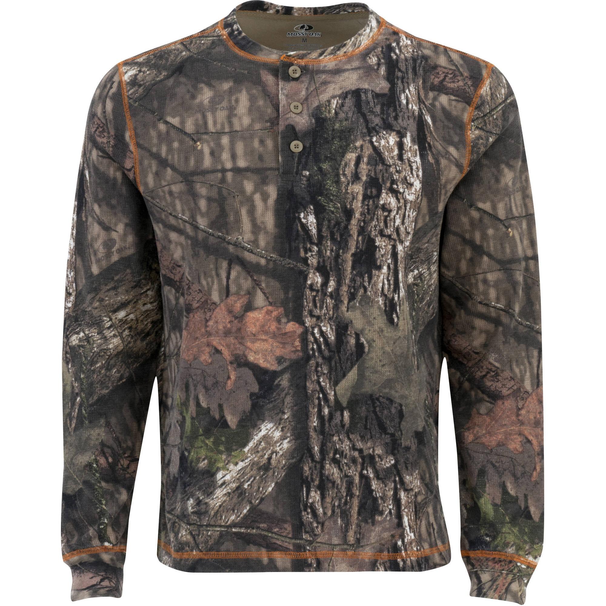 Mossy Oak Men's Long Sleeve Thermal Henley, Multiple Patterns