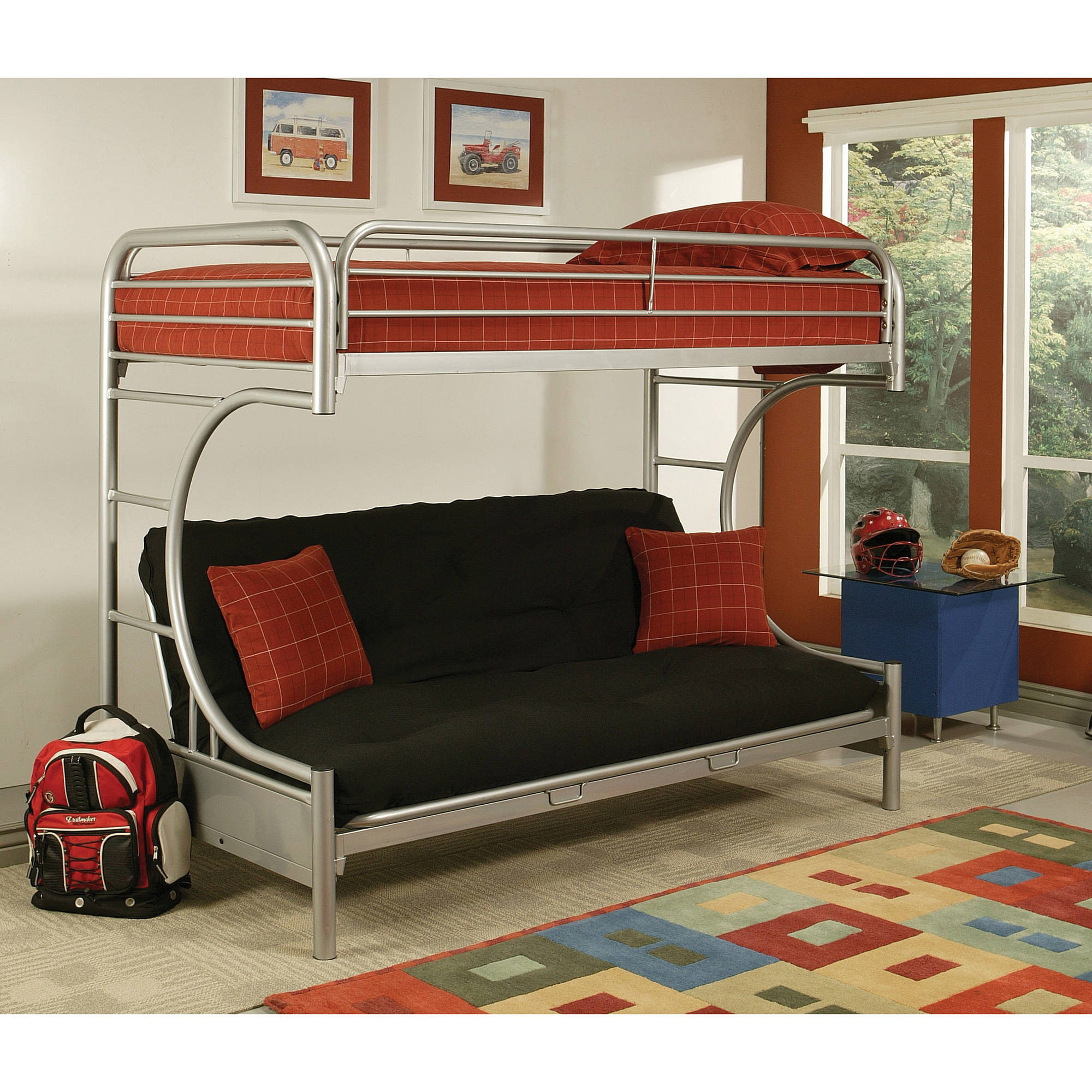 Eclipse Twin XL Over Futon Metal Bunk Bed, Silver by Acme Furniture