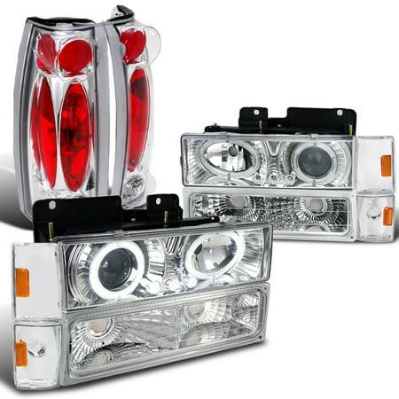 Spec-D Tuning 1988-1993 Chevy Gmc C/K 1500 2500 Blazer Silverado Projector Chrome Headlight + Tail Lamp (Left + Right) 1988 1989 1990 1991 1992 1993 ()