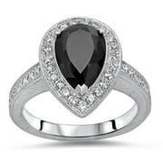 Noori Certified 14k White Gold 2 2/5ct TDW Pear Shape Black Diamond Engagement Ring (SI1-SI2) Size-5.5