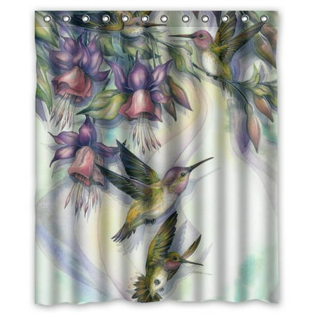HelloDecor Flower And Hummingbird Shower Curtain Polyester Fabric Bathroom Decorative Curtain Size 60x72 Inches ()