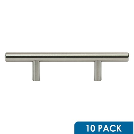 Brushed Nickel 3' Pull - 10 Pack Rok Hardware 3' Hole Centers Brushed Nickel Kitchen Cabinet Euro Style Drawer Door Steel T Bar Pull Handle Pull 6' Length