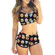 LELINTA Women's Two Piece Sports Padded Bikini Set Swimsuit with Boy Shorts Bathing Suits
