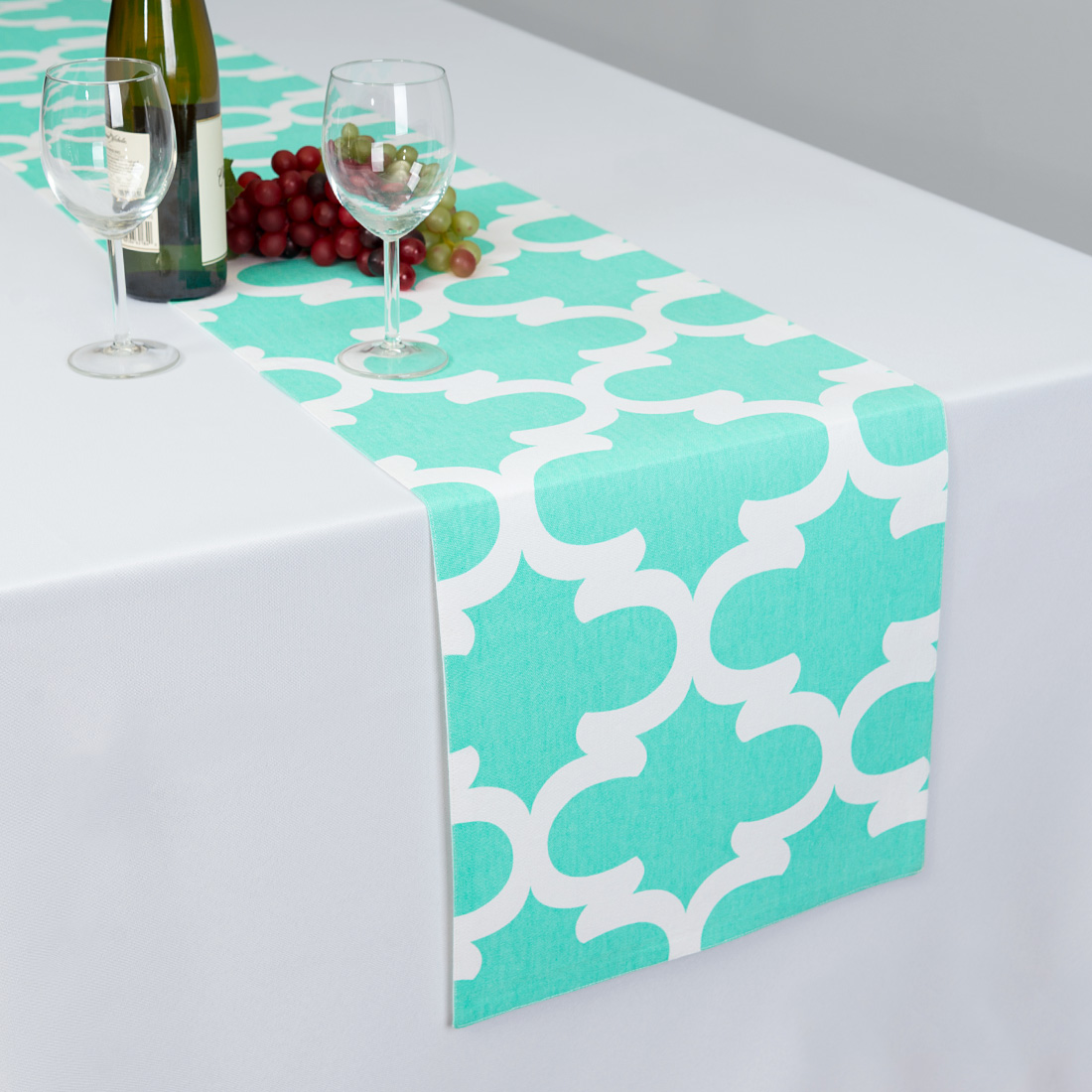 13 x 90 in. Mint & White Trellis Table Runner by