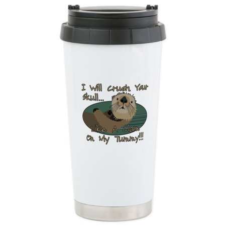 CafePress - Otter Skull Crush Stainless Steel Travel Mug - Stainless Steel Travel Mug, Insulated 16 oz. Coffee - Skull Halloween Tumblr