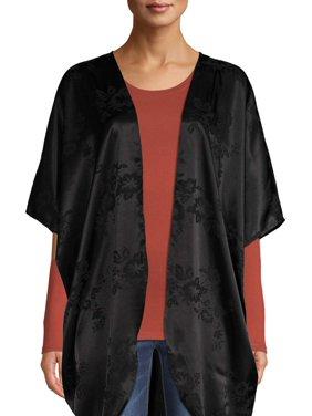 Time and Tru Women's Jacquard Open Front Kimono