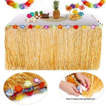Coolmade Hawaiian Luau Table Skirt - 9.6ft Hawaiian Luau Hibiscus Grass Table Skirt with 26 Faux Silk Flowers for BBQ Tropical Garden Beach Summer Tiki Party Decorations - Hawaiian Grass Table Skirts