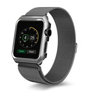 For Apple Watch Band with Case 38mm, Stainless Steel Mesh Milanese Loop with Adjustable Magnetic Closure Replacement Wristband iWatch Band for Apple Watch Series 3 2 1 - Black