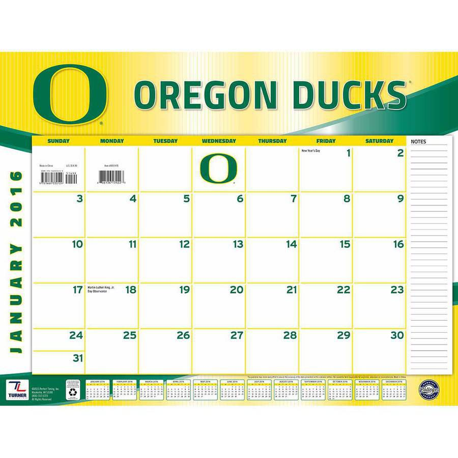 Turner Oregon Ducks 2016 22 Quot X 17 Quot Desk Calendar Walmart Com