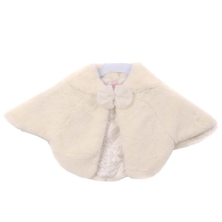 Girls Ivory Ribbon Closure Sailor Collar Anti Peal Fur Poncho Coat Collar Cotton Women Poncho