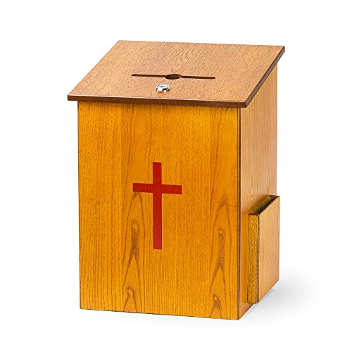 Source One Wooden Church Offering Donation Box w/Cross (1...