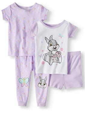 Winnie the Pooh Cotton tight fit pajamas, 4pc set (baby girls)
