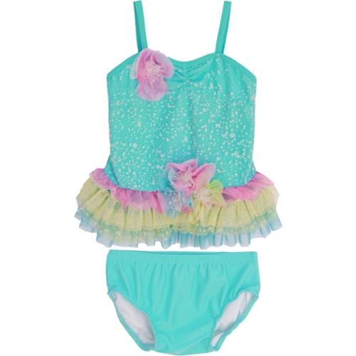 Isobella & Chloe Baby Girls Aqua Sea Spray Two Piece Tankini Swimsuit 18M