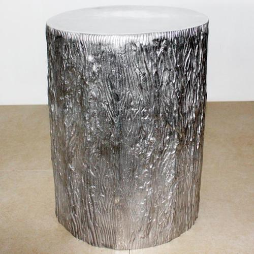 Haussmann Handmade 15-inch Diameter x 20 inches High Matte Finished Recycled Aluminum Tree Stump (India)