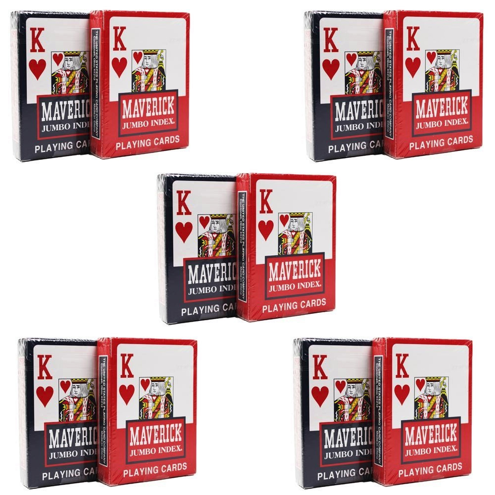 Maverick Jumbo Index Playing Cards 5 Red Decks and 5 Blue Decks #1000692 by The United States Playing Card Company