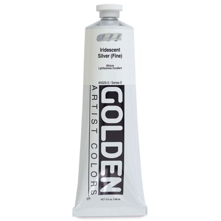 Golden Heavy Body Artist Acrylics - Iridescent Silver (Fine), 5 oz tube