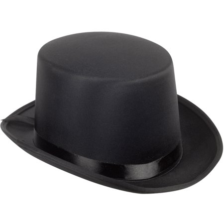 Loftus Adult Satin Ribbon Halloween Costume Top Hat, Black, One-Size (7.25